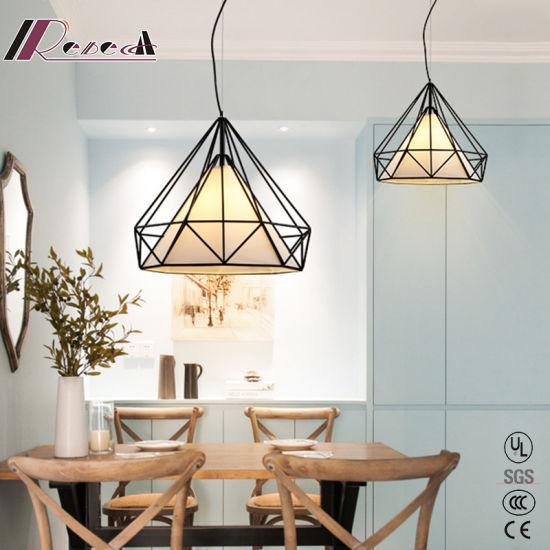 E27 60W Metal Polygonal Dining Room Pendant Light