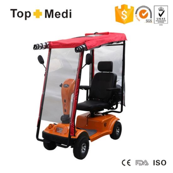 Topmedi Vehicle Seat Handicapped Electric Power Mobility Scooter with Awning and Motobike Storage Box