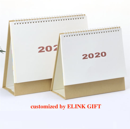 2020 Customized Desktop Tabletop Calendar Spiral Binding Paper Cardboard Calendar