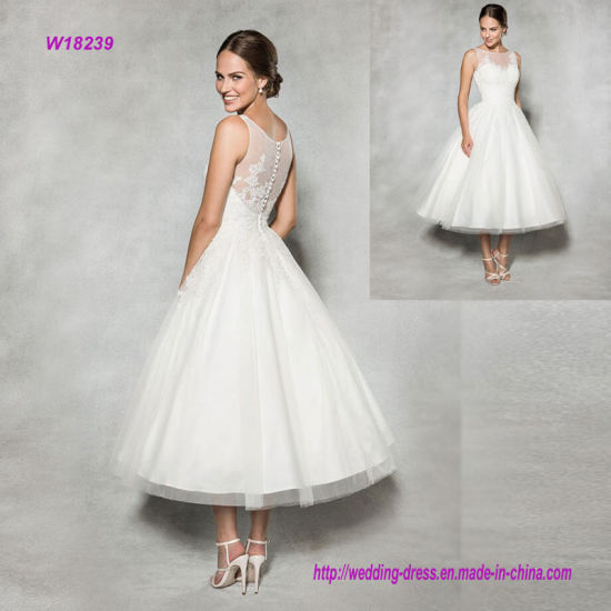 Vintage Style Tea Length Wedding Dress With Embellished Lace
