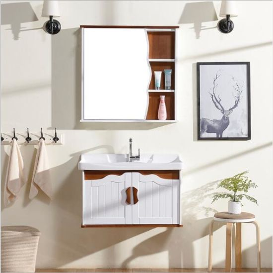 North Europe Style Modern Bathroom Furniture Vanity Oak Wood Sanitary Cabinets