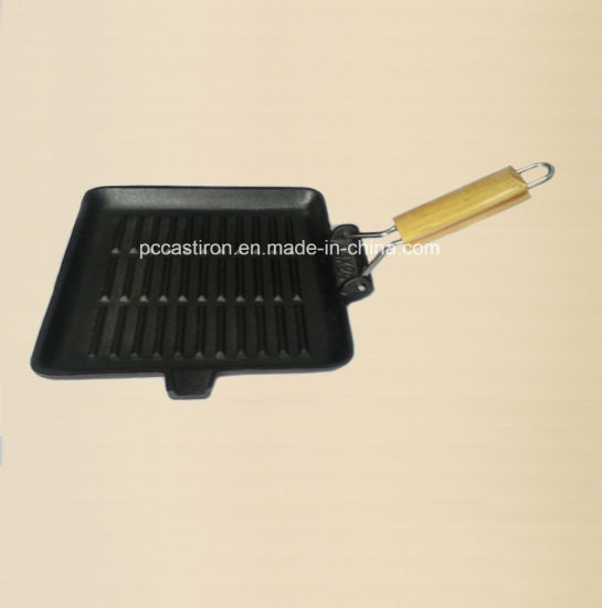 Preseasoned Cast Iron Grill Pan with Wooden Handle pictures & photos