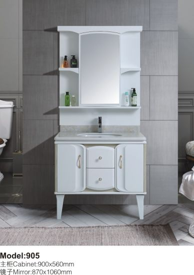 Down Floor PVC Bent White with Mirror Factory Cabinet