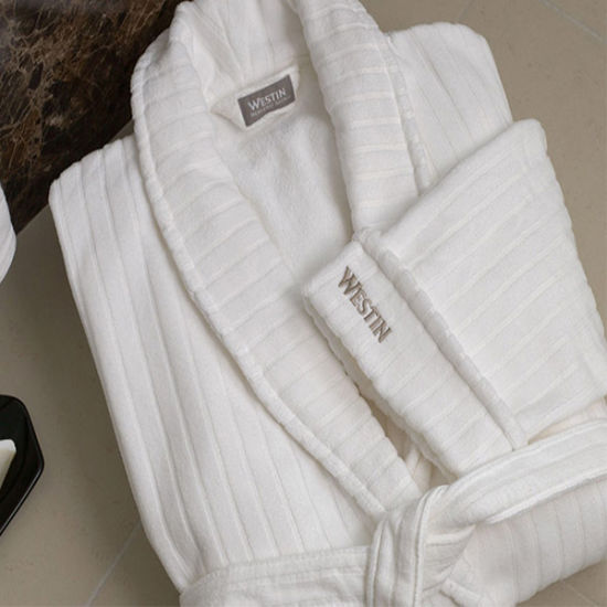 Quality Cotton White Velour Jacquard Stripe 5star Hotel Bathrobe