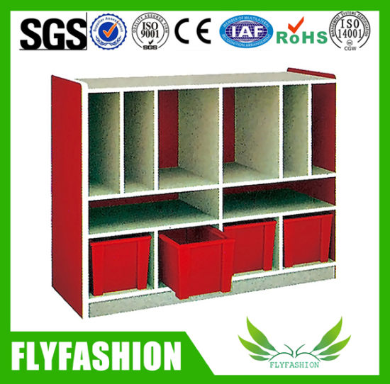 Wooden Toy Storage Cabinet with Plastic Boxes for Children (SF-122C)