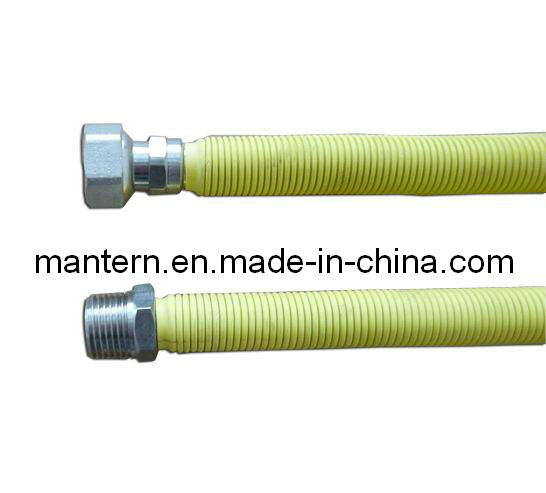 Yellow PE Covered Flexible Stainless Steel Corrugated Gas Hose
