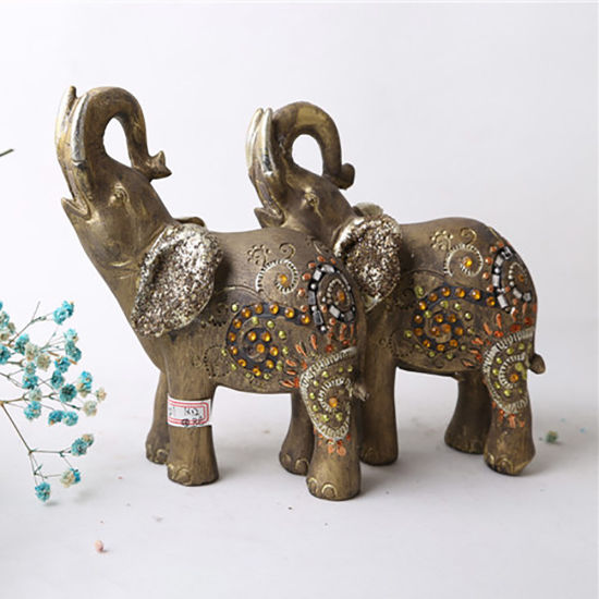 Wholesale Tabletop Gray Elephant Resin Statue Decoration Home Decoration