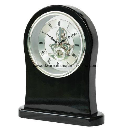 Black Piano Finish Skeleton Arch Wood Table Art Clock