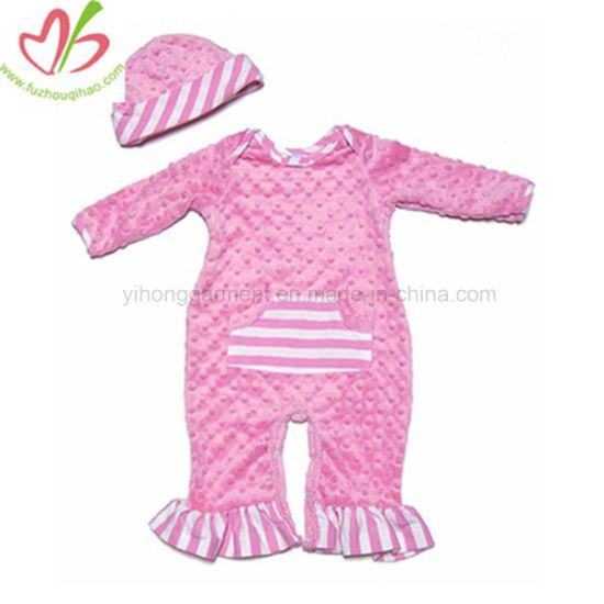 3a8f34da7e6 China Winter Minky Baby Girl Long Sleeve Ruffle Romper with Hat ...