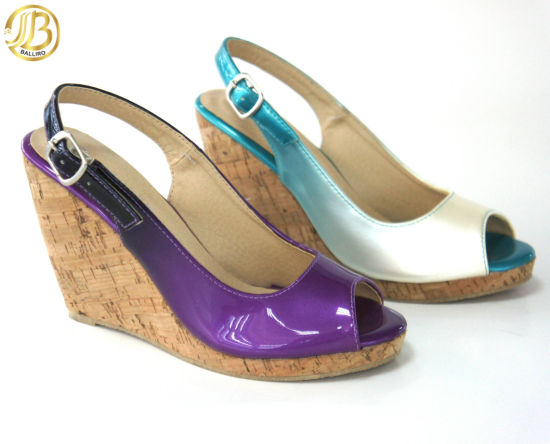 Purple Ladies Wedge Shoes, Comfortable Summer Sandals pictures & photos