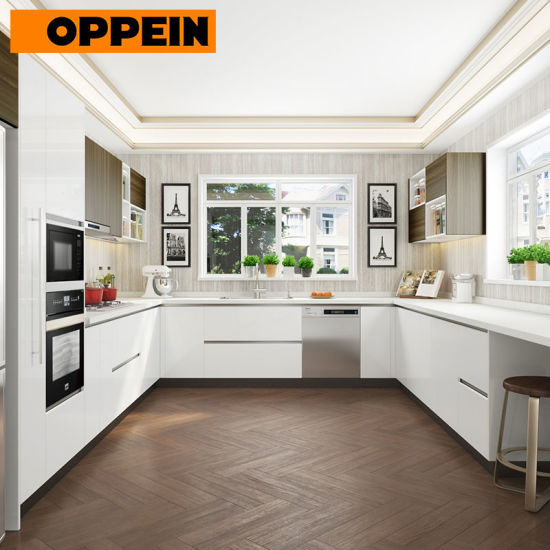 China Oppein Mauritius Residential Project Laminate U Shaped Kitchen on breakfast room cabinets, dining room cabinets, living room cabinets, u-shaped living room furniture, powder room cabinets, foyer cabinets, l-shaped corner cabinets, l-shaped hinges for cabinets, u-shaped outdoor kitchens, chrome edging trim for cabinets, u-shaped restaurant booths, kitchens without upper cabinets,