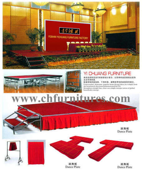 Red Carpet Wholesale Steel Concert Event Mobile Movable Folding Stage with Adjustable Feet for Sale (CH-W01) pictures & photos