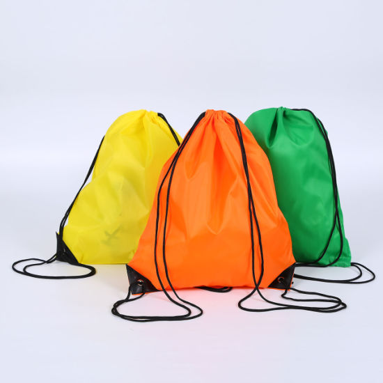 Promotional Custom Printing Logo Polyester Gym Backpack Eco Friendly Sport Drawstring Bags