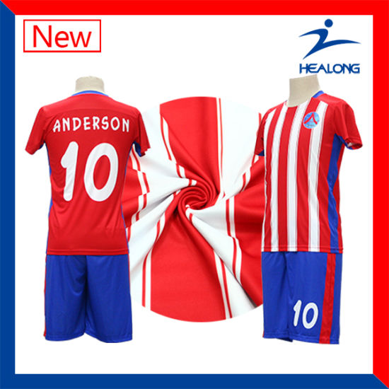 [Hot Item] Healong Blue and Red Digital Stripe Printed Cheap Soccer Jersey