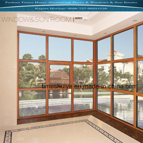 Wood Grain Color Aluminum Fixed Window with Toughened Glass pictures & photos