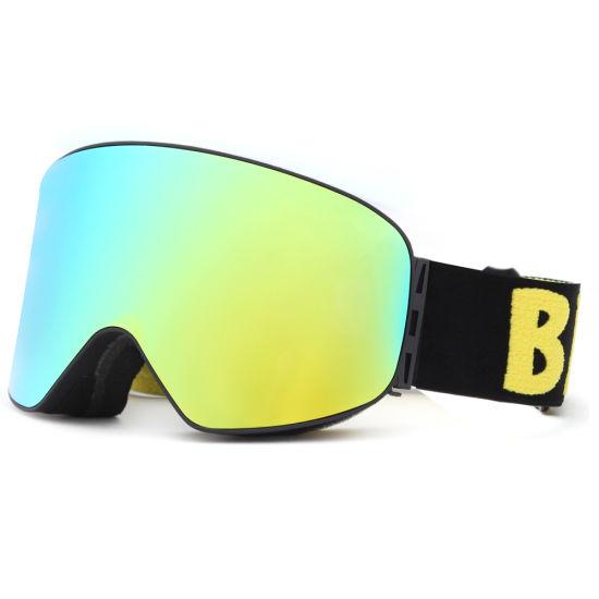 Matte Black Ski Snowboarding Goggles Large Winter Silver Mirror Anti-Fog Duel