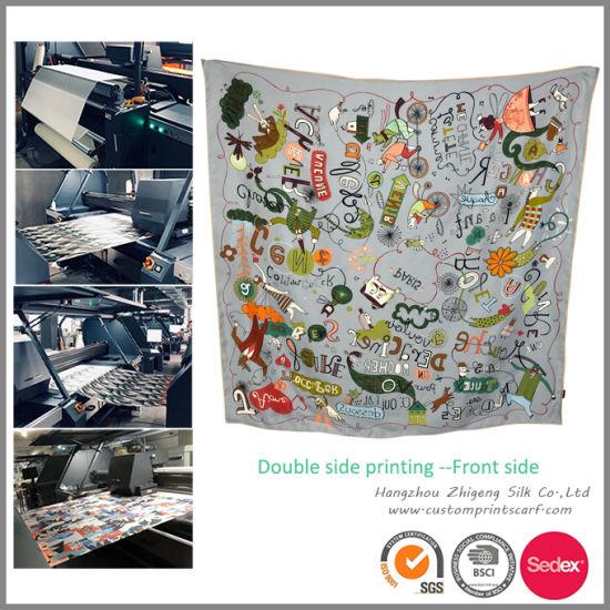 Double Side Colorway Digital Printing Silk Scarf