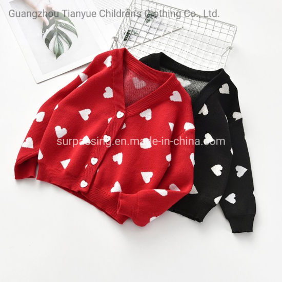 Two Colors of Baby Girls Love Sweater Garment Jacket Good Quality Children's Clothing Wholesale Children's Clothing Infant Products Knitting Clothes