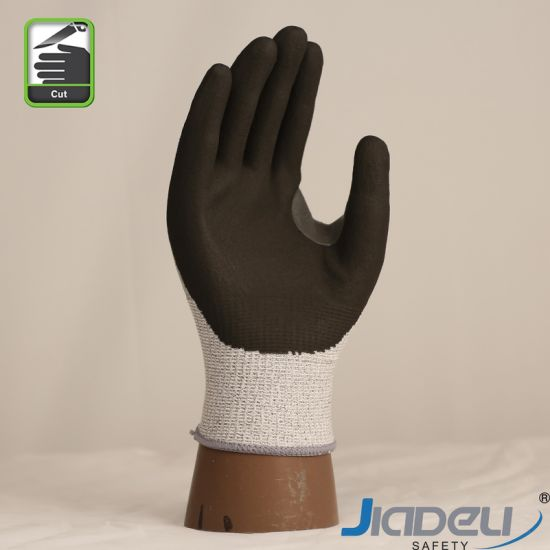 Industrial Labor Personal Protection Equipment Nice Grip Premium Builder Cut Level A3 Dipped Foam Nitrile Palm Fit Glove