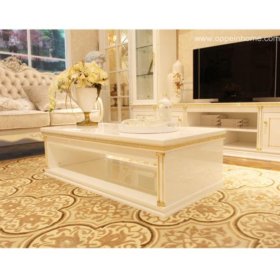 Oppein Home Furniture Euro White Long Tea Coffee Table (CJ11109A141)