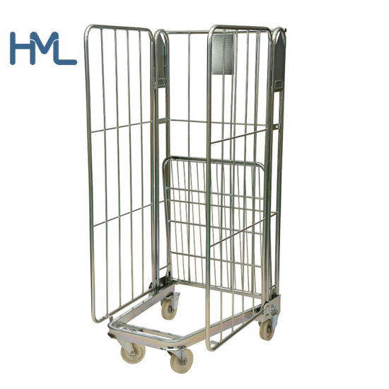 500kg High Quality Galvanized Laundry Industrial Portable Nestable Steel Wire Mesh Roll Cage Worktainer