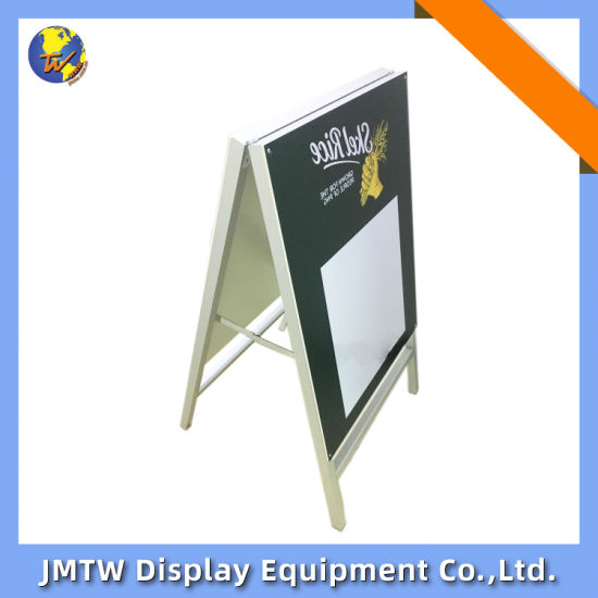 A Shape Aluminum Frame Flooring Stand for Store with Writing Board