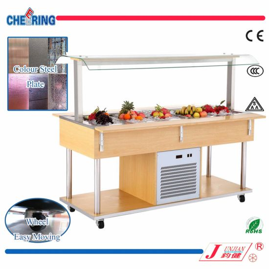 Cheering Color Steel Salad Bar Display Case for Buffet pictures & photos