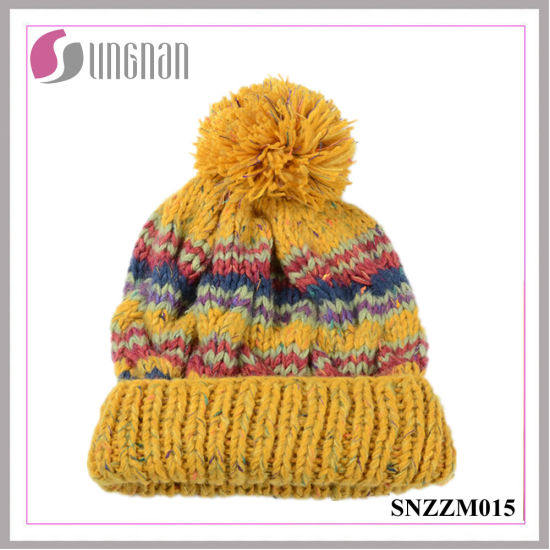 86231c0545713c Fashion Multicolor Sweet Stripe Knitted Cap Curling Ball Wool Hat pictures  & photos