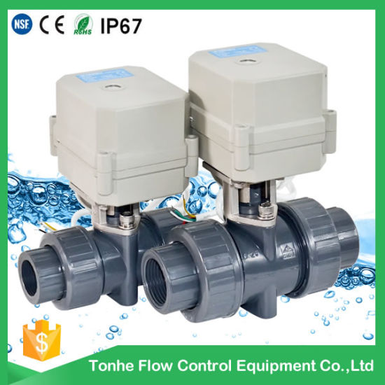 Plastic PVC Electric Motorized Ball Valves Automatic Water Drain Valve 3/4 Inch pictures & photos