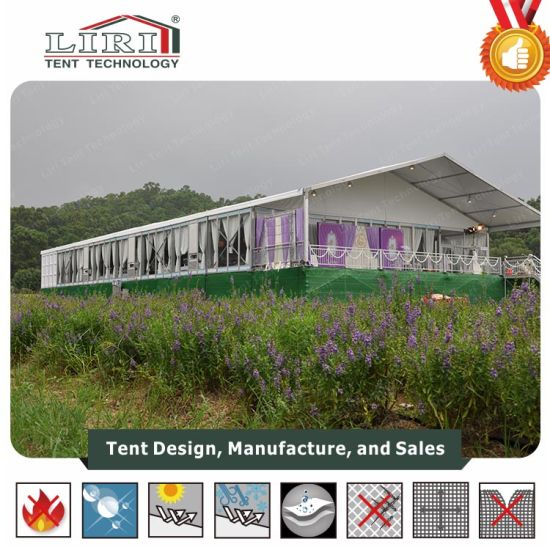 China 20m Width Luxury Big Tent with Temper Glass Walls