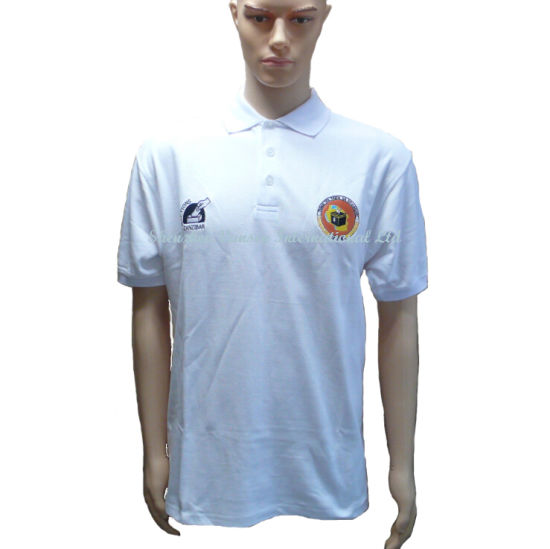 f80526ade China 100% Cotton White Polo Shirt with Two Embroidery Logo - China ...