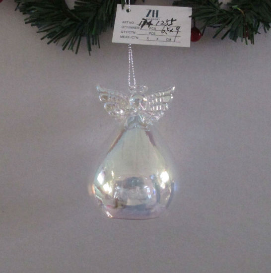 Pearl Clear Glass Angel with LED Light Inside