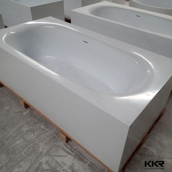Kingkonree Rectangular Solid Surface Marble Double Apron Bathtub