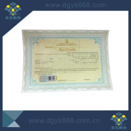 Intaglio Printing Watermark Certificate with Hologram pictures & photos