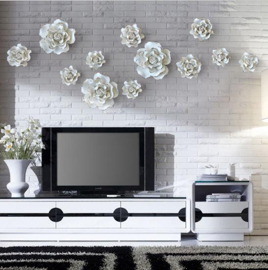 . Handmade Wall Decorations Creative Living Room Ornaments Ceramic Flowers