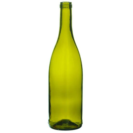 Wholesale 750ml Cork Finish Burgundy Glass Wine Bottles
