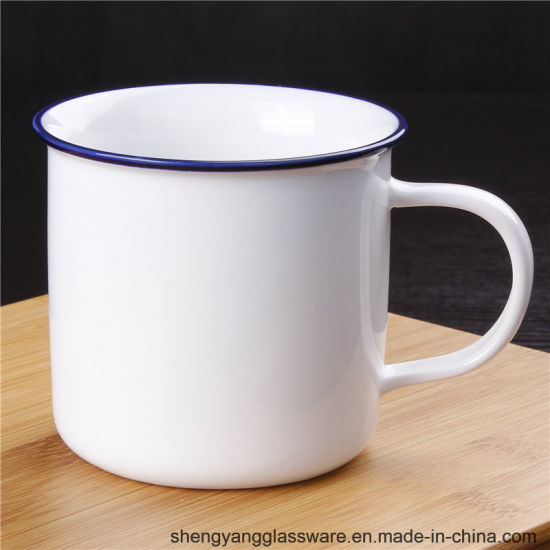 300ml-500ml White Color Ceramic Mug with Handle pictures & photos