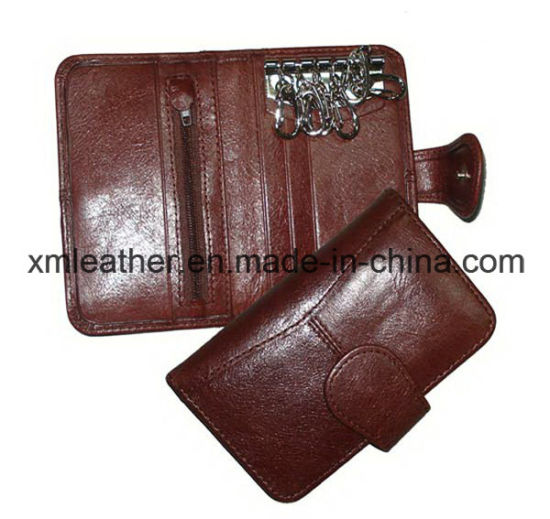 Fashion Unisex Leather Key Chain PU Wallet Key Holder with Zipper Coin Pocket