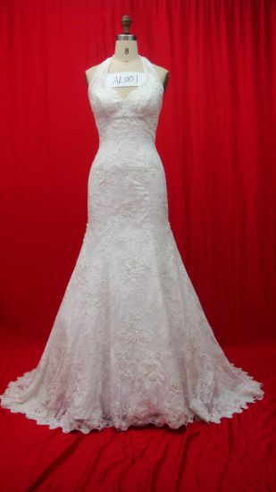 Top Quality Halter Lace Beaded Bridal Wedding Dresses (AL001) pictures & photos