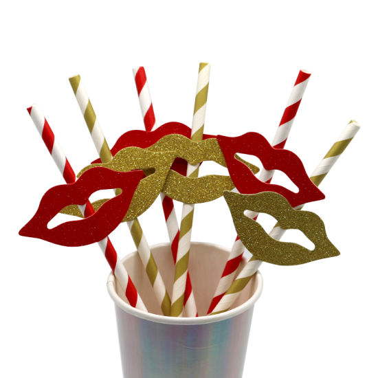 Red Lip Decoration Paper Drinking Straws Paper Straw