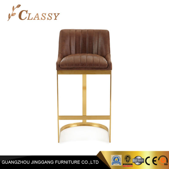 Modern Furniture Antique Leather Bar Stool in Stainless Steel Frame