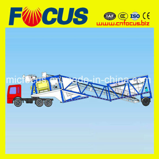 25m3/H - 75m3/H Trailer Concrete Batching Plant with Truck Chassis pictures & photos