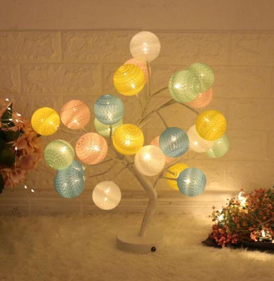 Cotton Ball Room Decoration Christmas Ornament LED Light