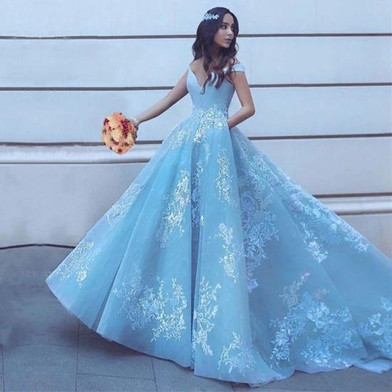 China Blue Pageant Dresses off Shoulder