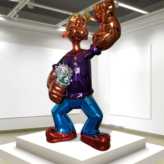 Large Outdoor Life Size Stainless Steel Popeye Sculpture