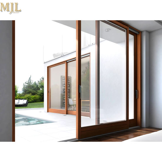 China Hot Sale Aluminium Metal Composite Wooden Frame Glass Sliding ...