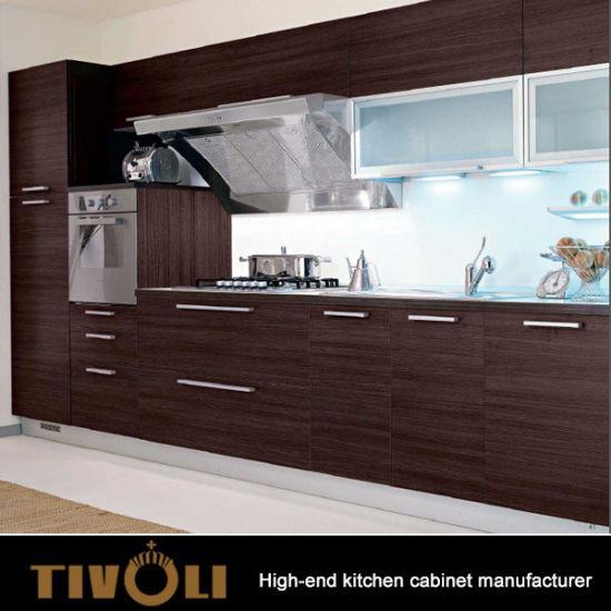 China Wenge Veneer/Laminate Kitchen Cabinets With Horizontal Grain & Clear Coating TV-0610