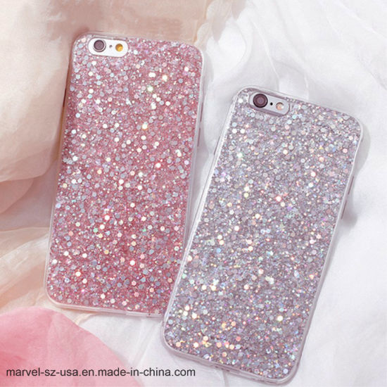 Luxury Shinning Glitter Soft Love Heart Phone Cover Case for iPhone 7/7 Plus