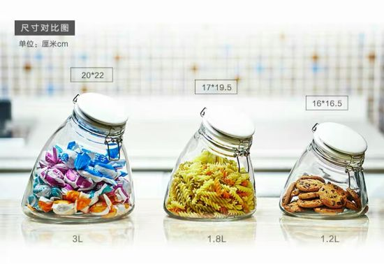 Creative Transparent Glass Jar with Ceramic Lid and Buckle pictures & photos