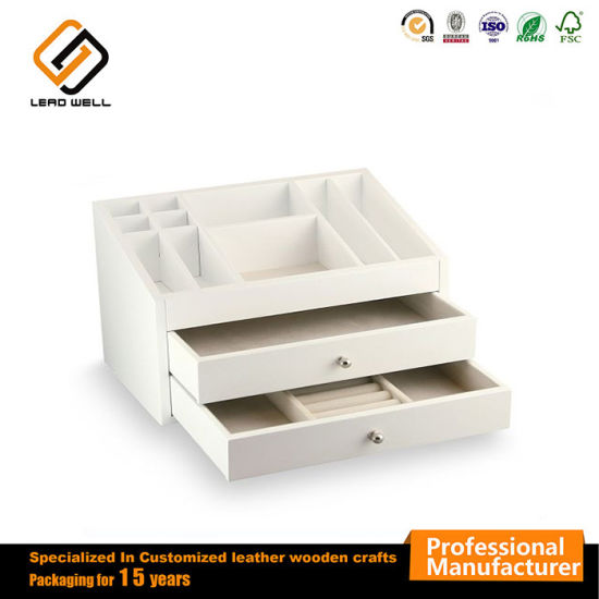 China Ladder Shaped 2 Drawers White Wood Jewelry Box Case China